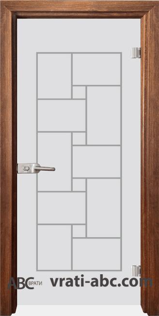 Стъклена интериорна врата Gravur G 13-7 с каса Златен дъб