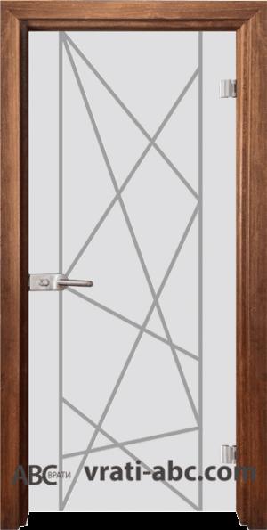Стъклена интериорна врата Gravur G 13-5 с каса Златен дъб