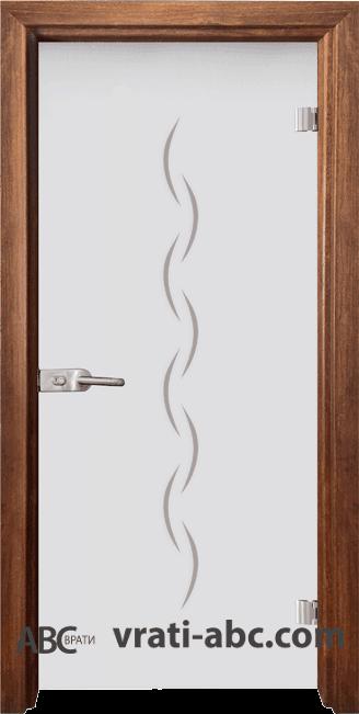 Стъклена интериорна врата Gravur G 13-1 с каса Златен дъб